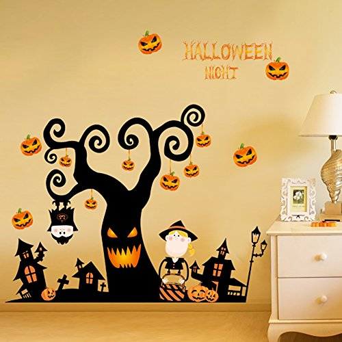 Ochine Halloween Wall Stickers, Happy Halloween Pumpkins Wall Decals Window Stickers for Kids Rooms Nursery Halloween Decorations (Pumpkin Tree)]()