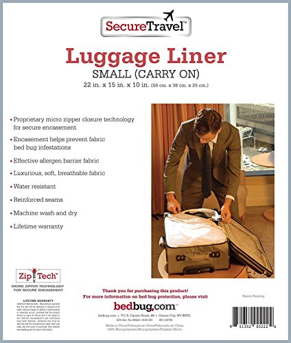 Secure Travel Bed Bug Proof Luggage Liner - Carry-On Suitcase