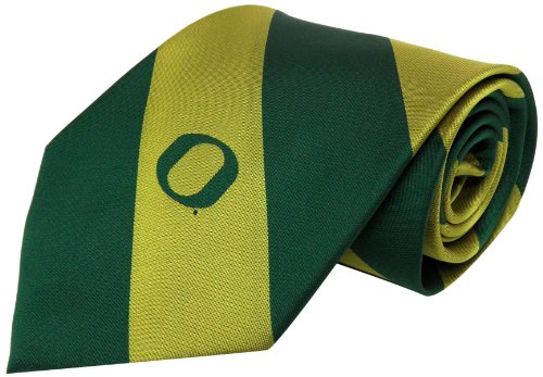 NCAA Men's Oregon Ducks Striped Necktie, Green/Yellow