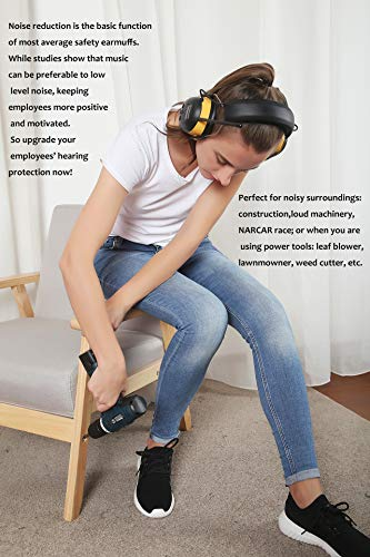 Digital AM/FM Radio Earmuff, ZOHAN TYPE-A Ear Protection With Stereo Radio, Perfect for Mowing (Yellow) by ZOHAN (Image #6)