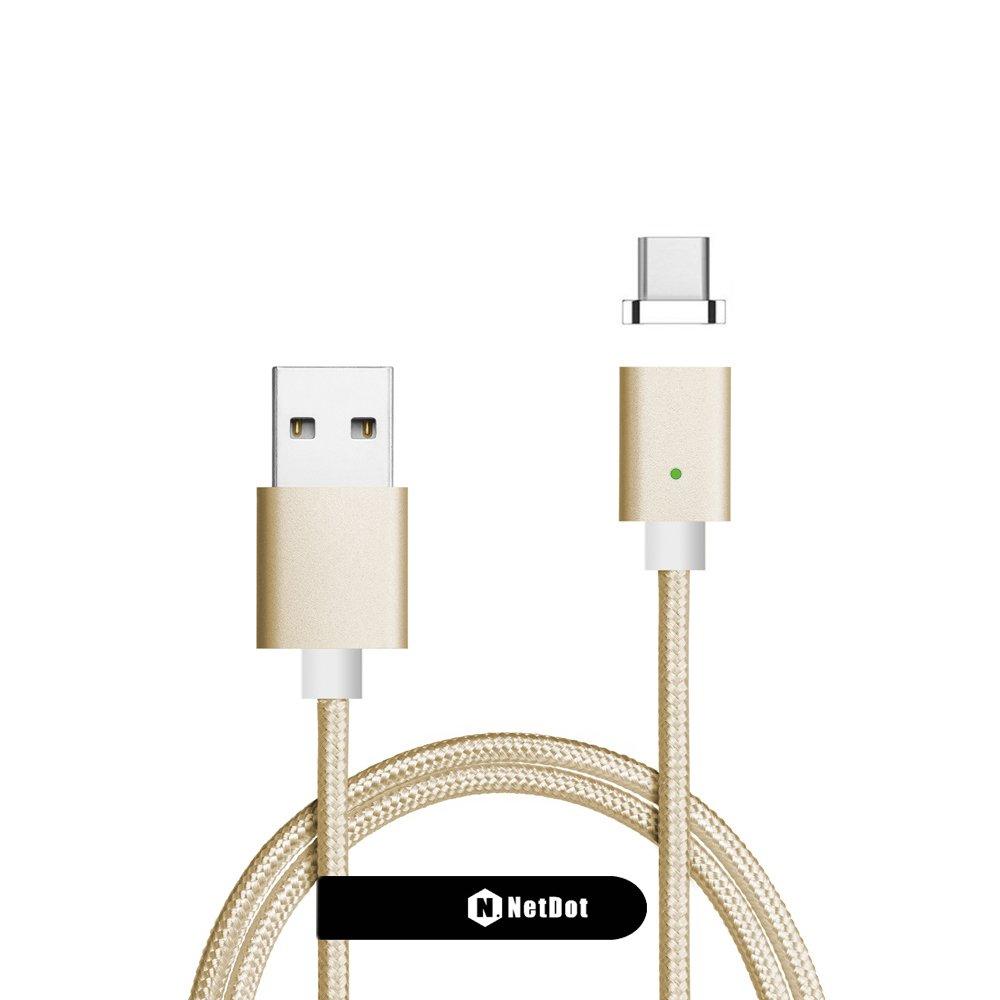 NetDot Gen7 USB-C Cable Magn/ético de Carga R/ápida y Transferencia de Datos Compatible Tipo-C Tel/éfono Inteligente 1.5m //1 Pack Rojo