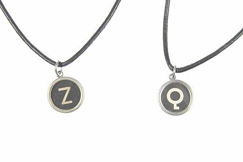 miniblings Clave Collar de Cuero Cable máquina de Escribir 45cm SOLICITUD DE Carta schwz, Buchstabe:UE: Amazon.es: Joyería