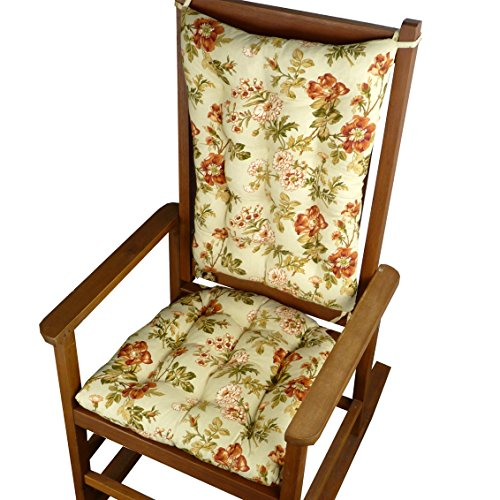 Rocking Chair Cushions - Farrell Sage Green Floral Print - Reversible, Latex Foam Fill - Made in USA (Extra Large)