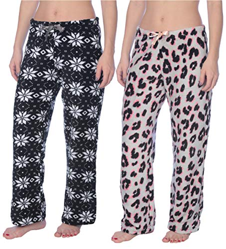 Active Club Fleece Lounge Plaid Pajama Pants for Women - Adjustable Waistband - 2 Pack (Large, 2 Pack Checkers Black White/Tiger Gray ()