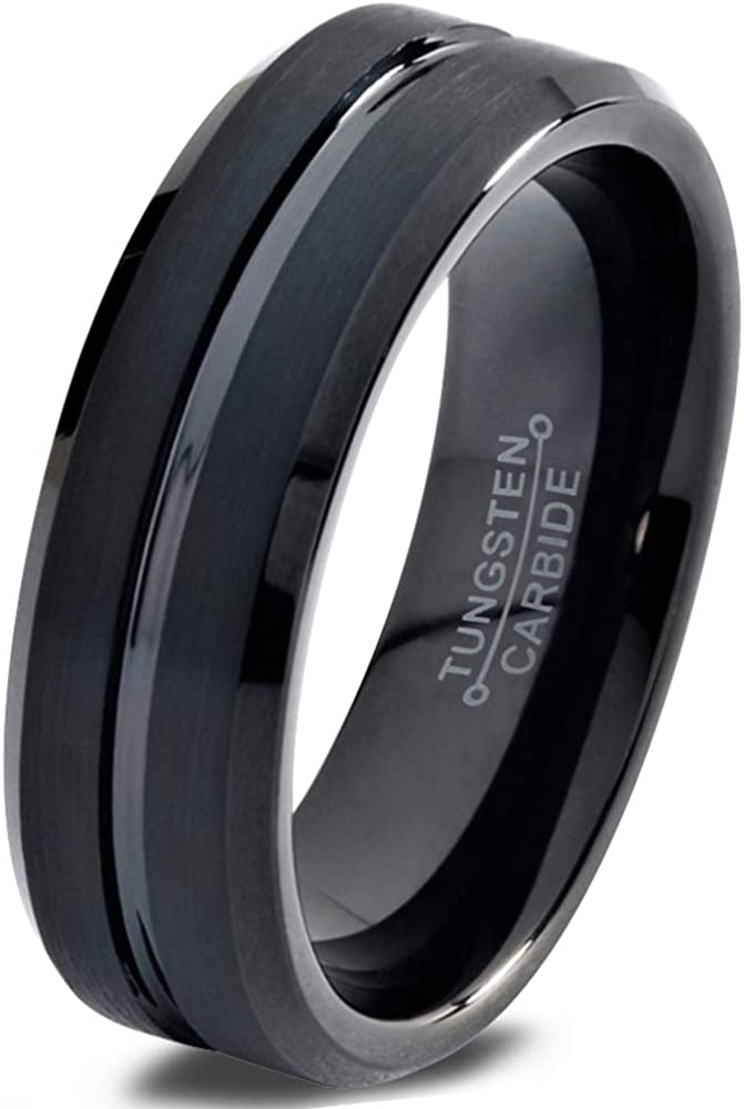 Charming Jewelers Tungsten Wedding Band Ring 6mm Men Women Comfort Fit Grey Black 18K Yellow Gold Plated Bevel Edge Brushed Polished