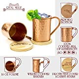 [Gift Set] Moscow Mule Copper Mugs Set of 2 by RealMule - 100% Solid Copper Hammered Cups 16 Oz + FREE Wooden Coasters and Gift Box - Perfect For Ice Cold Mules, Beer, Soft Drinks