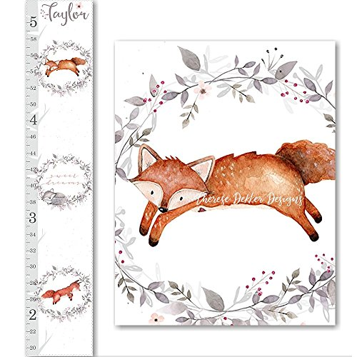 Fox Growth Chart, Canvas Growth Chart, Woodland Animals Growth Chart, Floral Growth Chart, Woodland Decor, Height Chart, Personalized Chart (Canvas Chart Growth Woodland)