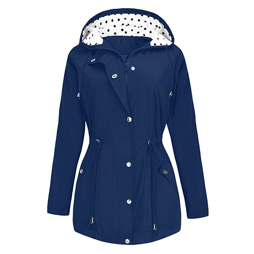 Shusuen Women's Waterproof Raincoat Hooded Rain Jacket Windbreaker Outdoor Trench Coats D Navy by Shusuen_Clothes
