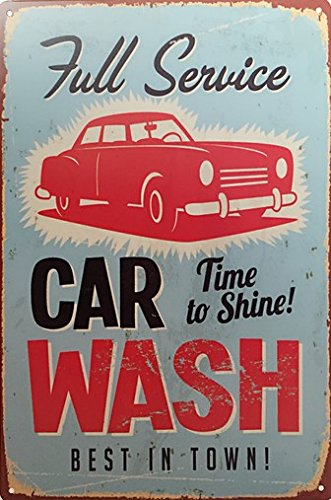 2 Retro Signs (Full Service Car Wash Retro Vintage Tin Sign 12