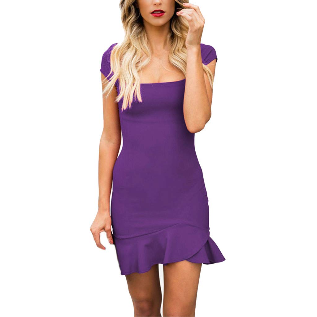 Women's Casual Solid Dress Short Sleeve Ruffle Hem Slim Fit Summer Dresses (M, Purple)