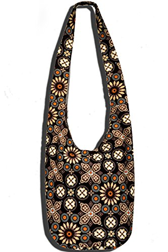 Hippie Crossbody Bag Thai Top Zip Hobo Sling Bag Handmade Hipster Messenger Bag (Rose Line)