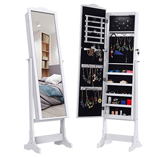 LANGRIA 10 LEDs Lockable Jewelry Cabinet Full-Length Mirrored Jewelry Armoire Free Standing, 5 Shelves, Organizer for Rings, Earrings, Bracelets, Broaches, Cosmetics, White (Mirrored Box Shelves)