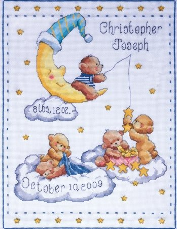 Tobin 471362 Bears In Clouds Birth Record Counted Cross Stitch Kit-11 in. x 14 in. 14 Count Bear Birth Record