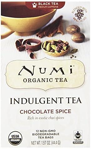 Numi Organic Indulgent Tea, Chocolate Spice, Black Tea, 12 Count non-GMO Tea Bag, 3 Count - Numi Black Organic Tea