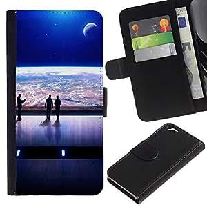 KLONGSHOP // Tirón de la caja Cartera de cuero con ranuras para tarjetas - Spaceship Ver Futurismo Arte Tierra del universo - Apple Iphone 6 //