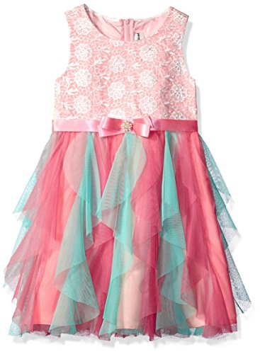 Rare Editions Easter Dress (Rare Editions Little Girls' Cascade Easter Dress, Coral/Aqua, 6)