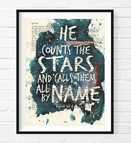 He Counts the Stars and Calls Them All By Name, Psalm 147:4, Christian Unframed Reproduction Art Print, Vintage Bible Verse Scripture Wall and Home Decor, Inspirational Watercolor Gift, 8x10 - Art Scripture
