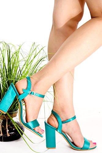 Lolli Couture In Pelle Scamosciata Open Toe Cinturino Alla Caviglia Tagliato Indietro Grandi Scarpe Tacchi Alti Lightgreensatin