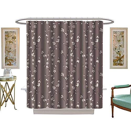 luvoluxhome Shower Curtains with Shower Hooks Floral Spring Cherry Blossoms Flowers on Branches Asian JapaneseSakura Theme Mauve White W69 x L70 Satin Fabric Sets Bathroom