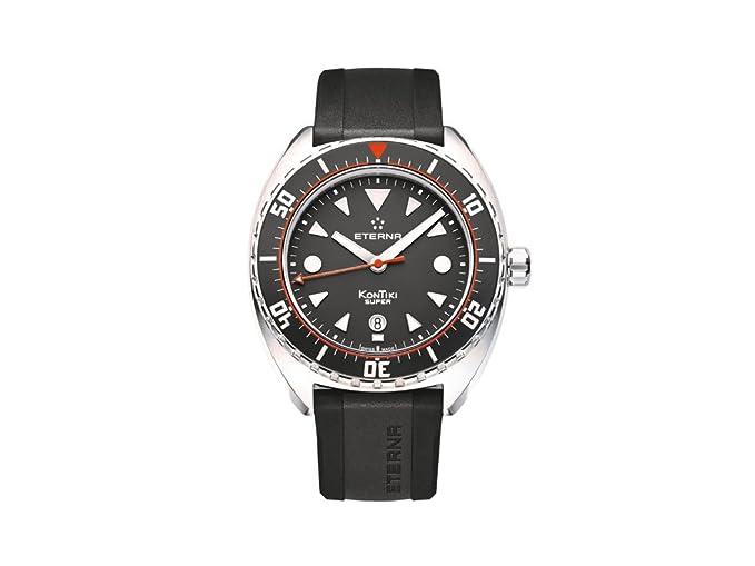 Reloj Automático Eterna Super KonTiki, SW 200-1, Negro, Correa de caucho: Amazon.es: Relojes