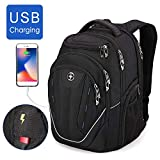 Swissdigital Water-Resistant Large Backpack-TSA Friendly Business Laptop Backpack USB Charging Port Bag for Men with RFID Protection Big Travel Backpack, Fits 15.6 in Laptops School Bookbag