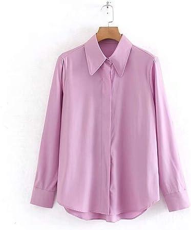 YuQuanXin Suelta Camisa De Color Rosa Púrpura para Mujeres (Color : Pink, Size : L): Amazon.es: Hogar