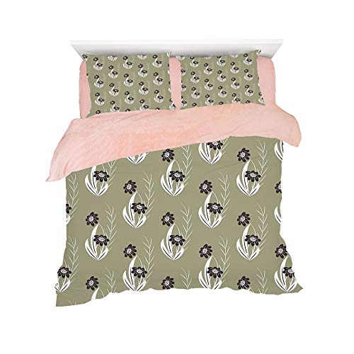 (Flannel 4 pieces on the bed Duvet Cover Set 3D printed for bed width 4ft Pattern Customized bedding for girls and young children,Floral,Artistic Flowers Tiny Branches Leaves Dotted Blooms Pattern Gard)