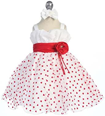 SIZE 12M - Baby Toddler Valentines Day Dress White Tulle with Red HEARTS