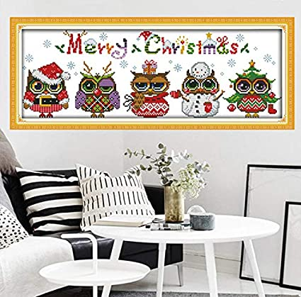 Kit de broderie au point de croix estamp/é /« Happy Christmas /» 14 fils 44 cm x 54 cm DIY aiguille pour d/écoration de la maison Back From Journey