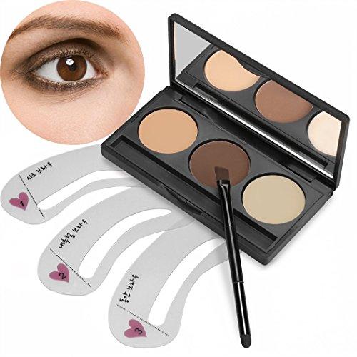 ACEVIVI 3 Farben Brauenpuder Augenbraue mit 3 Typen Augenbrauen Schablonen