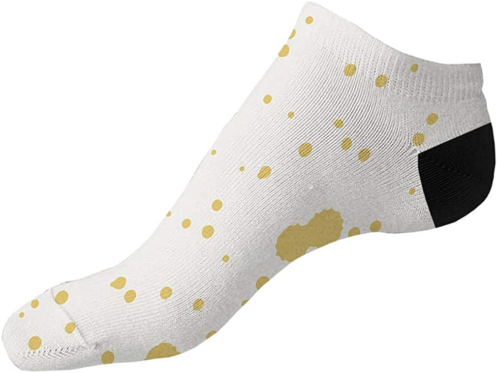 Yellow And White Pitter Pattern #33 Men-Women Adult Ankle Socks