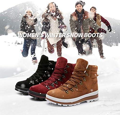 Shupua Womens Winter Snow Boots Warm Ankle Boots Anti-Slip Zipper Combat Boots Fur Lined Booties