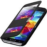 Flip Cover Tasche Samsung Galaxy S5 G900 / S5 Neo SM-G903F Schutz Hülle Case Schwarz + mit Sichtfenster + annehmen der anrufe ohne öffne des Covers + Folie