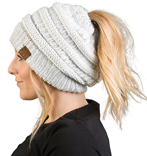 BT-6020a-2501 Messy Bun Womens Winter Knit Hat Beanie Tail - Ivory/Silver