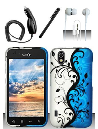- 4 Items Combo For LG Marquee LS855 / Optimus Black P970 (Boost/Sprint) Blue Silver Vines 2D Design Snap On Hard Case Protector Cover + Car Charger + Free Stylus Pen + Free 3.5mm Stereo Earphone Headsets