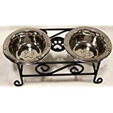 Wrought Iron Small Dog Feeder Raised Scroll With Stainless Steel Bowls Included - Hand Made By Amish of Lancaster County