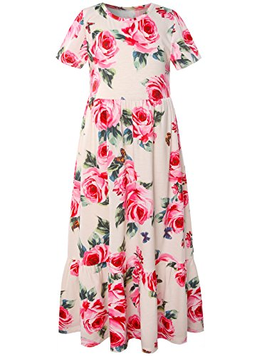 Bonny Billy Big Girls Long Dress Summer Floral Printed Holiday Clothes for Teens 10-12 Beige