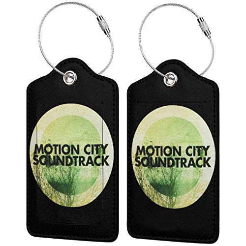 ZJWZJW Motion City Soundtrack Luggage Bag Tags Leather Fashion Funny Travel Name Tags For Luggage Suitcase