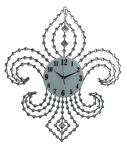Wall Clocks Sparkling Jeweled Fleur De Lis Shaped Decorative Wall Clock 28 Inch 23.5 X 28 X 1.25 Inches Black (Ornate Fleur De Lis)