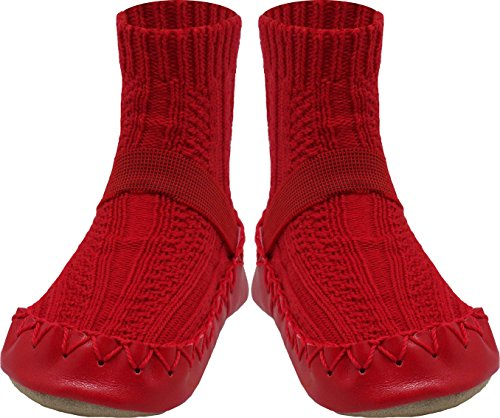 Konfetti by Nowali Cable Knit Moccasins - Red-12-18 Months