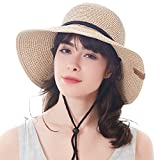 Women's Wide Brim Sun Beach Hat Braided Bucket with Wind Lanyard UPF 50+ (Beige Khaki, Large Size (Head Size 23.22''))