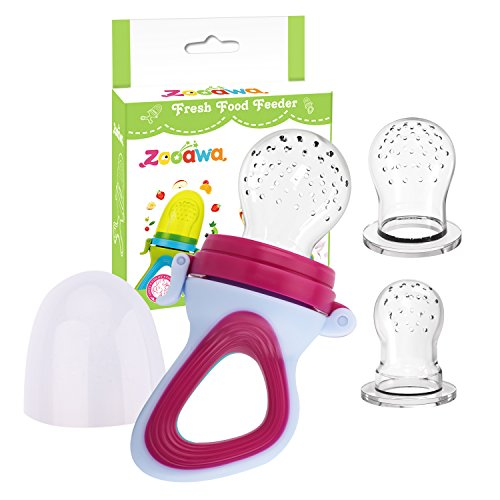 Zooawa Baby Food Feeder, Soft Silicone Mesh Fruit & Food Feeder Pacifier Teether Feeding Pacifier Teething Toy for Infants, BPA-Free, 3 Different Sized, Purple + White
