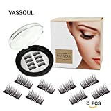 Beauty : Vassoul Magnetic False Eyelashes - 0.2mm Ultra Thin, 3D Fiber Reusable Best Fake Lashes, Natural Handmade Extension Fake Eye Lashes, No Glue, 8 Pieces