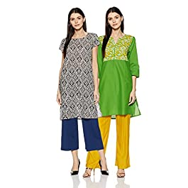 Amazon Brand – Myx Women's Cotton Straight Kurti