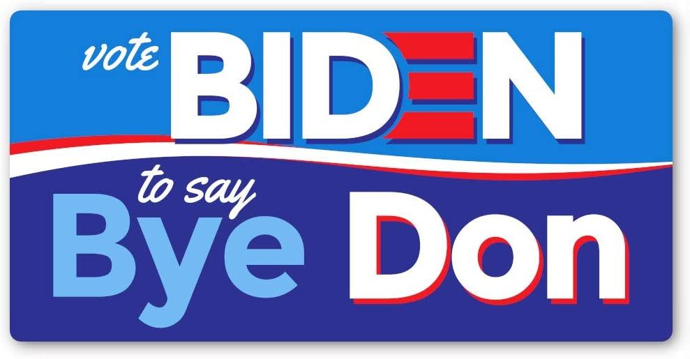 Crafted-Brand Vote Biden to Say Bye Don Sticker – Easily Removable Joe Biden Vinyl Decal with A Clever Anti-Trump Twist (7.5 X 3.75 Inch)