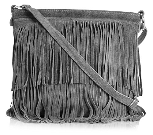 - Big Handbag Shop Womens Suede Leather Tassle Fringe Shoulder Bag (Dark Grey)