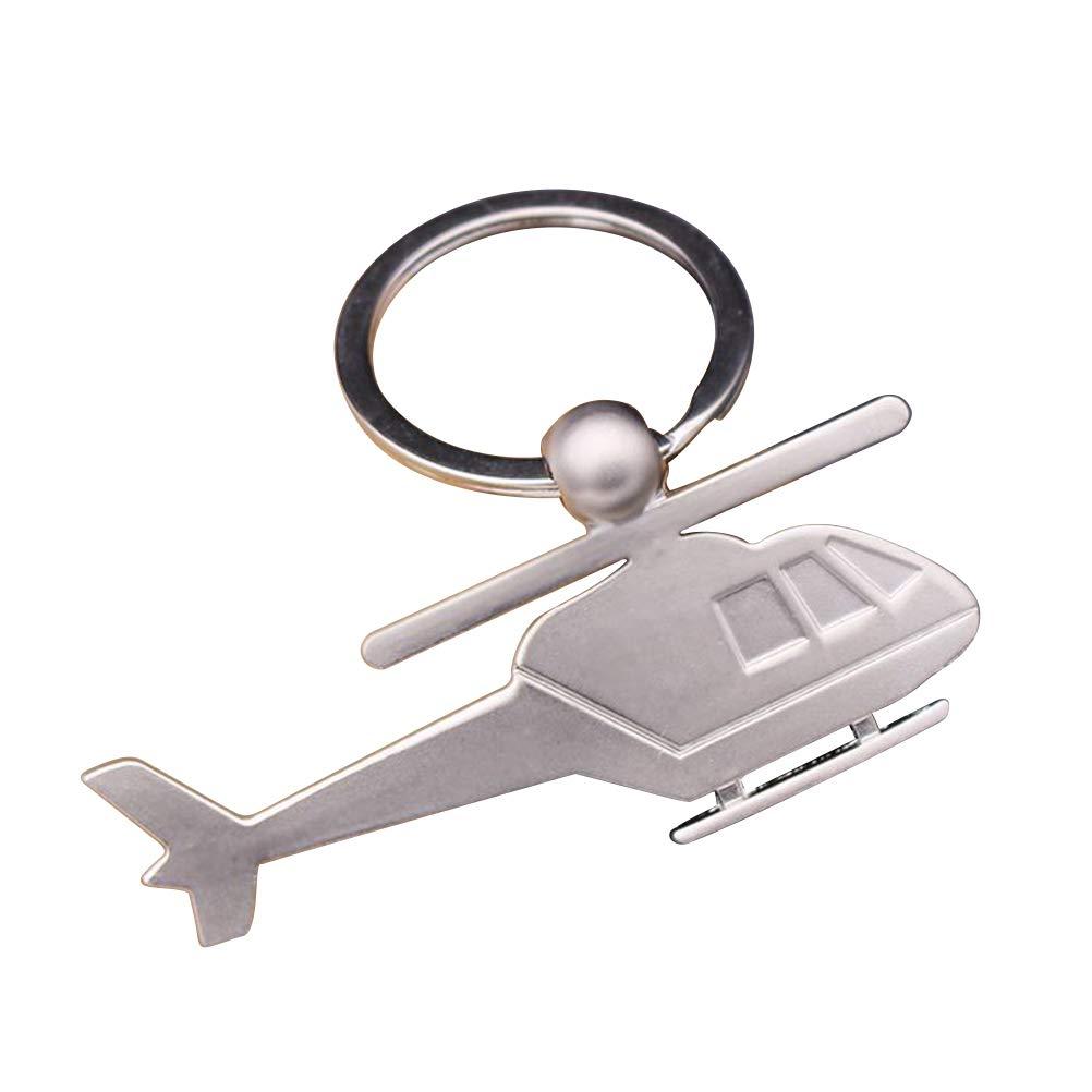 Vosarea Hélicoptère Porte-clés en Métal Porte-clés Cool Car Porte-clés Sac À Main Sac Pendentif Décoration Créatif Cadeau Porte-clés (Argent)