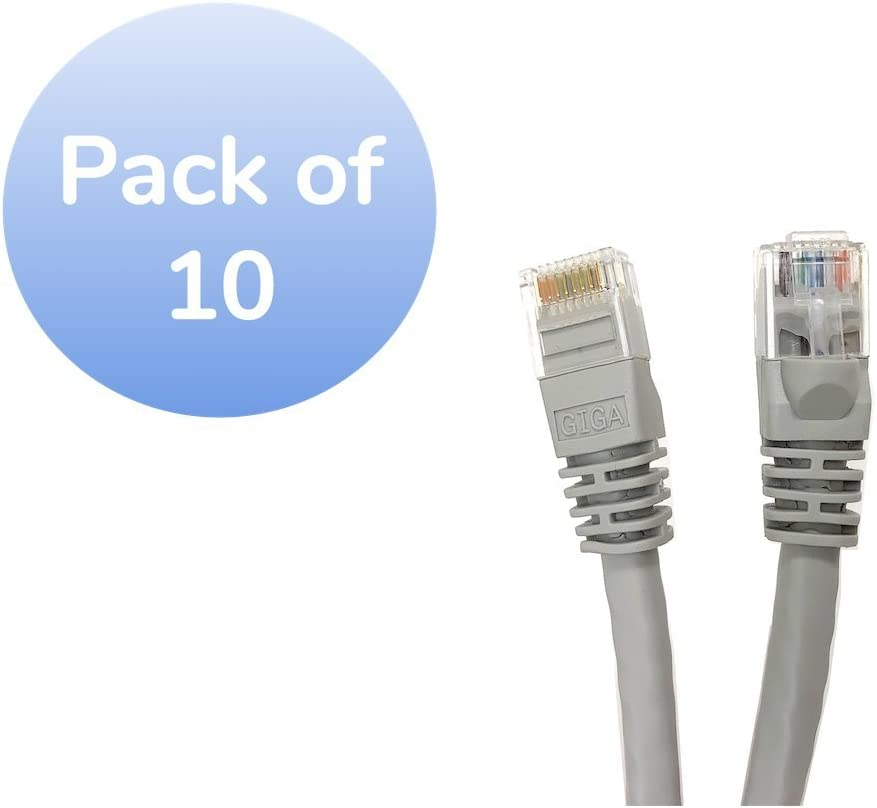 Inc E08-003-10 10 Pack Micro Connectors Gray 3-feet Cat 6 Molded UTP Snagless RJ45 Networking Patch Cable