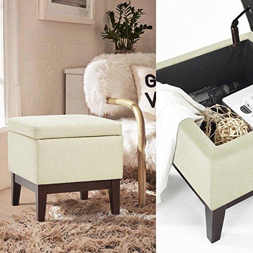 Button Tufted Storage Bench (Beige Fabric Square Storage Accent One Button-Tufted Ottoman Bench Wood Legs)
