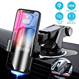 YOUSTOO Wireless Car Charger Mount, Automatic Sensing Clamping Car Mount Holder, 7.5w/10w Qi Fast Charging Car Phone Holder Compatible with iPhone Xs/Xs Max/XR/X/ 8/8 Plus, Samsung Galaxy (Black)